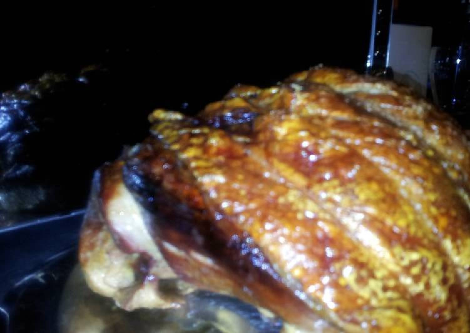 Traditional English roasted leg of pork with perfect crackling