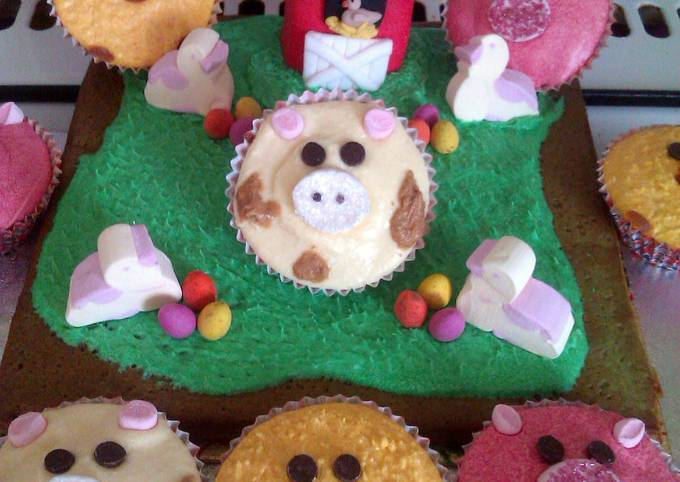 Vickys Kids Easter Cupcakes/Farmyard Cake Decoration Instruction