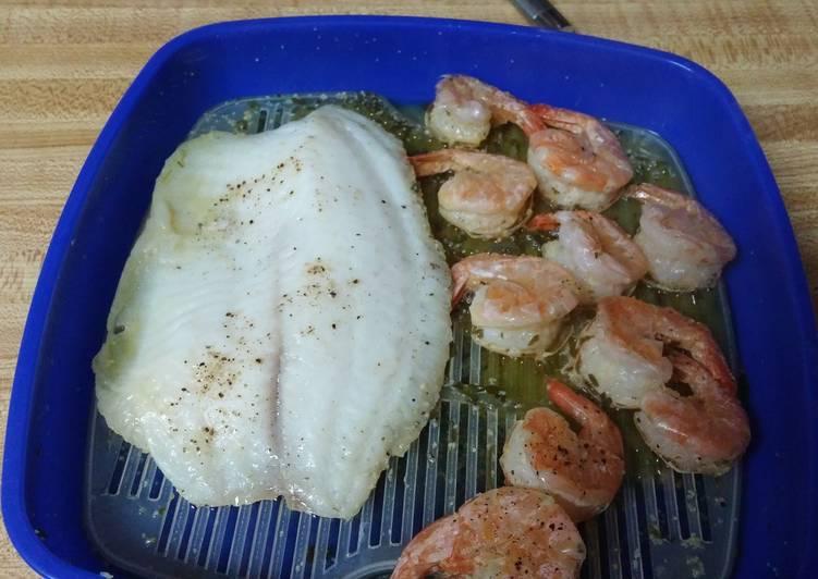 Microwave Steamed Shrimp/Fish in Lemon Butter Sauce