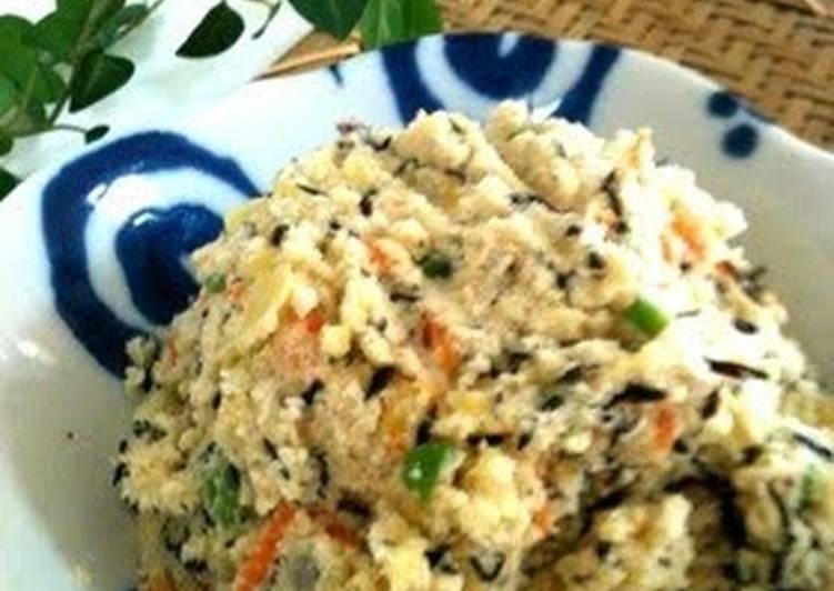 Steps to Prepare Super Quick Homemade Healthy Potato Salad with Okara and Hijiki Seaweed