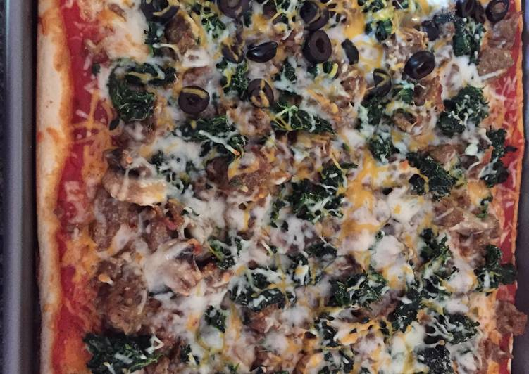 Italian Sausage  Spinach Rectangle Pizza