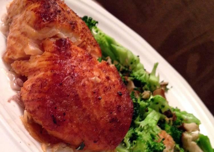 Broiled Salmon with Broccoli & Shiitake Mushrooms