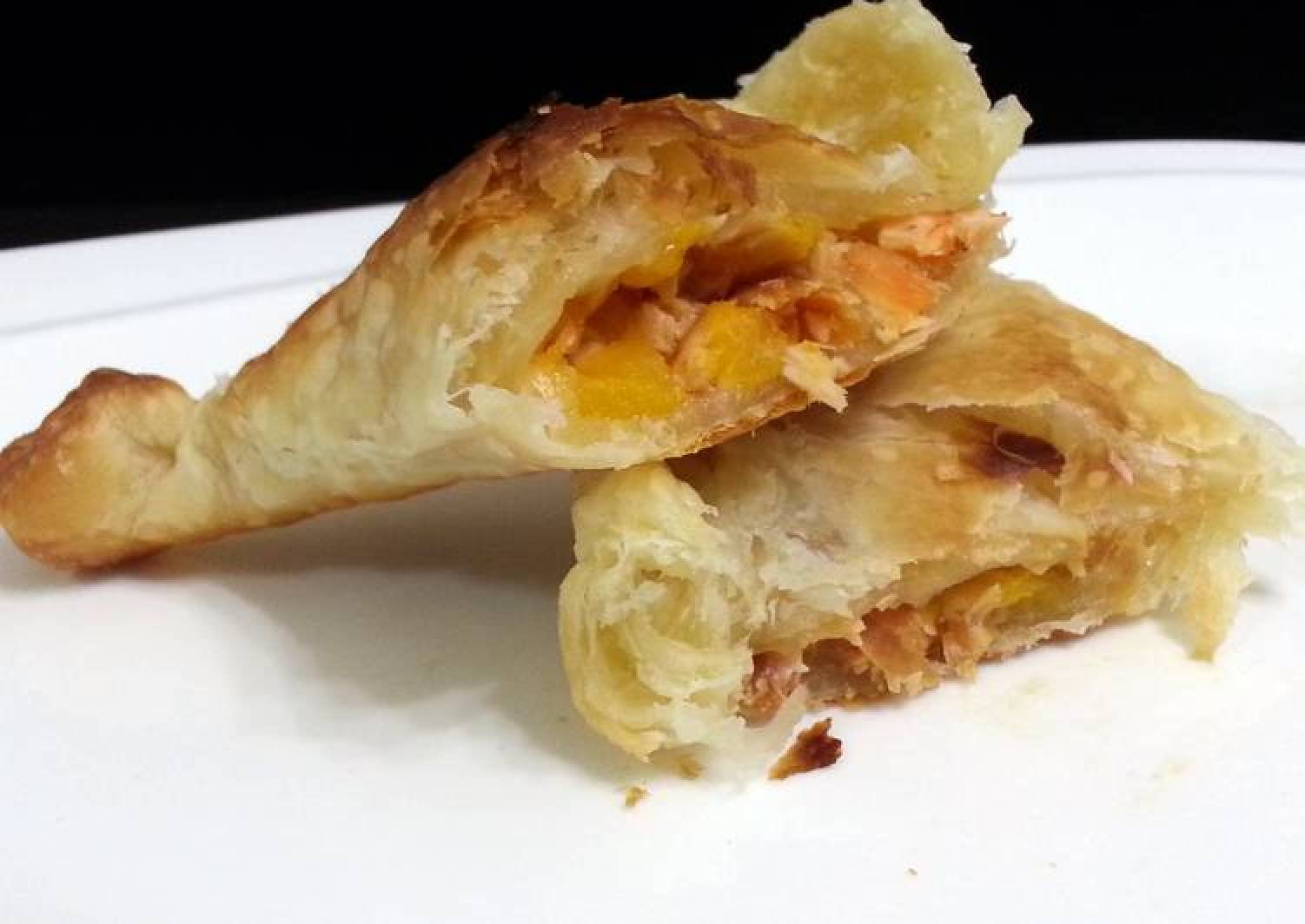 Salmon And Peach Puff Pastry Snack