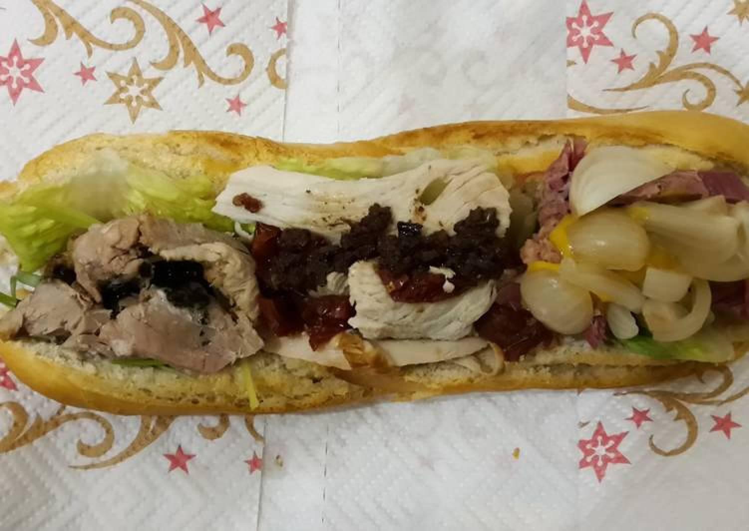 3 way Xmas leftovers sandwich
