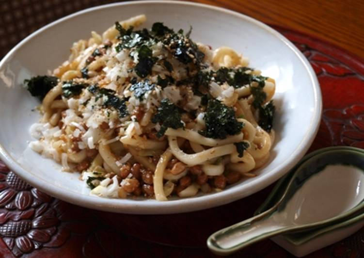 Stir Fried Natto and Chopped Udon Noodles with Sesame Oil