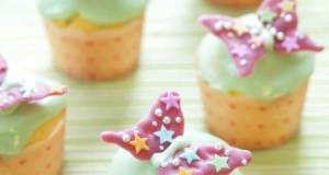 Spring Coloured Butterfly Cheese Cupcakes