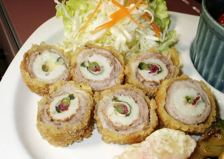 Rolled Chikuwa Fish Stick and Pork Cutlets with Plum, Shiso, and Cheese