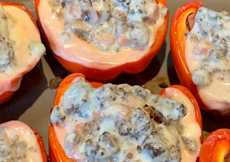 Steps to Prepare Quick Ground beef stuffed peppers