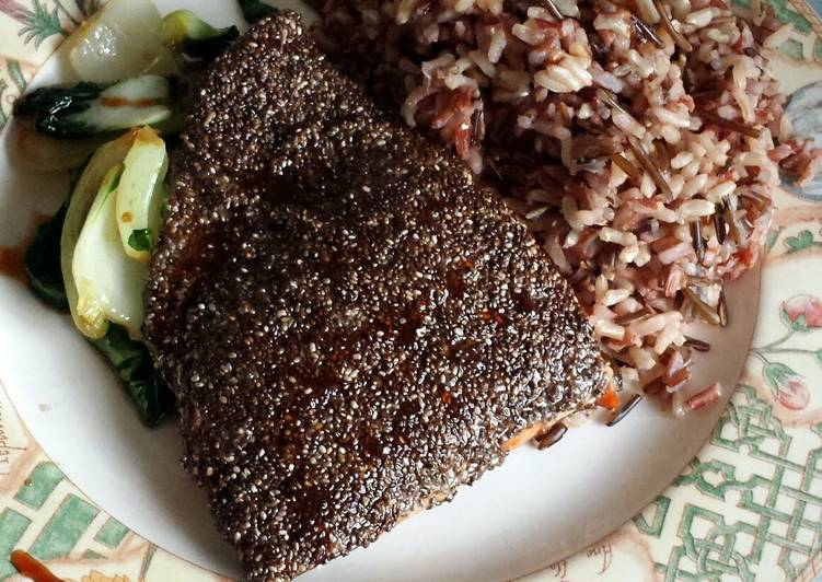 Chia-crusted salmon with Asian greens copied from online