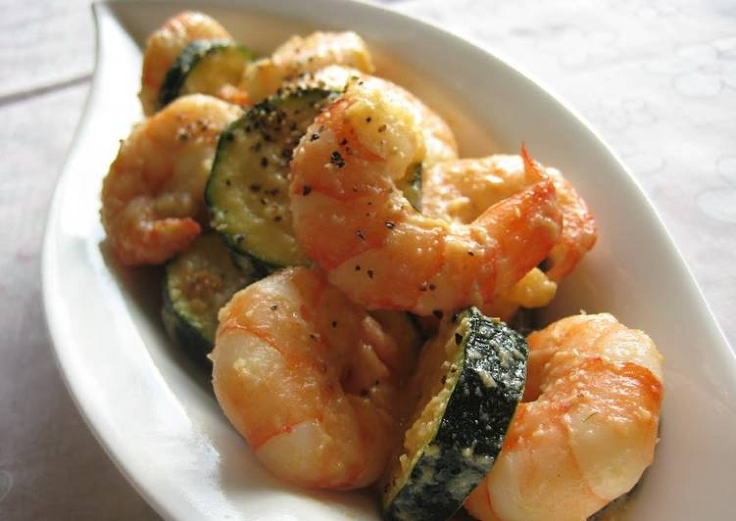 Shrimp and Zucchini Stir Fried In Milk And Miso