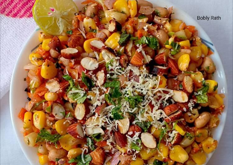Roasted almonds corn salad