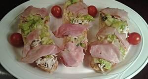 Crab Salad with Ham Crostini