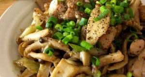 Mushroom and Chicken Sauted in Whole Grain Mustard and Miso
