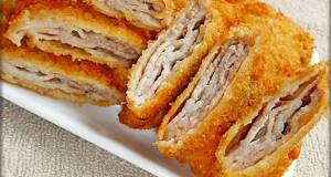 Easy Folded Tonkatsu Pork Cutlet with Thinly Sliced Pork Belly