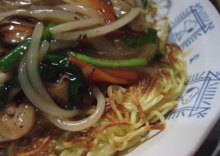Crispy Fried Yakisoba Noodles with Ankake Sauce