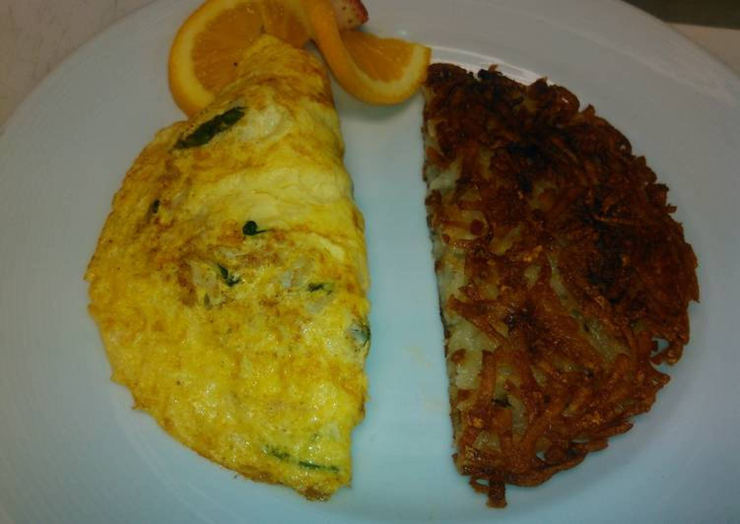 Spinach and crab omelette