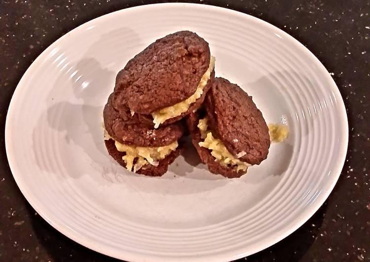 German Chocolate Brownie Sandwich Cookies