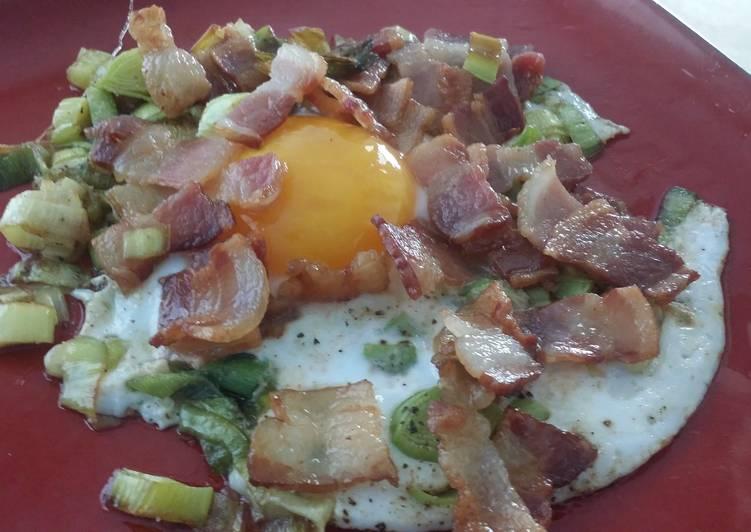 Bacon Sautéed Leeks and Duck Egg