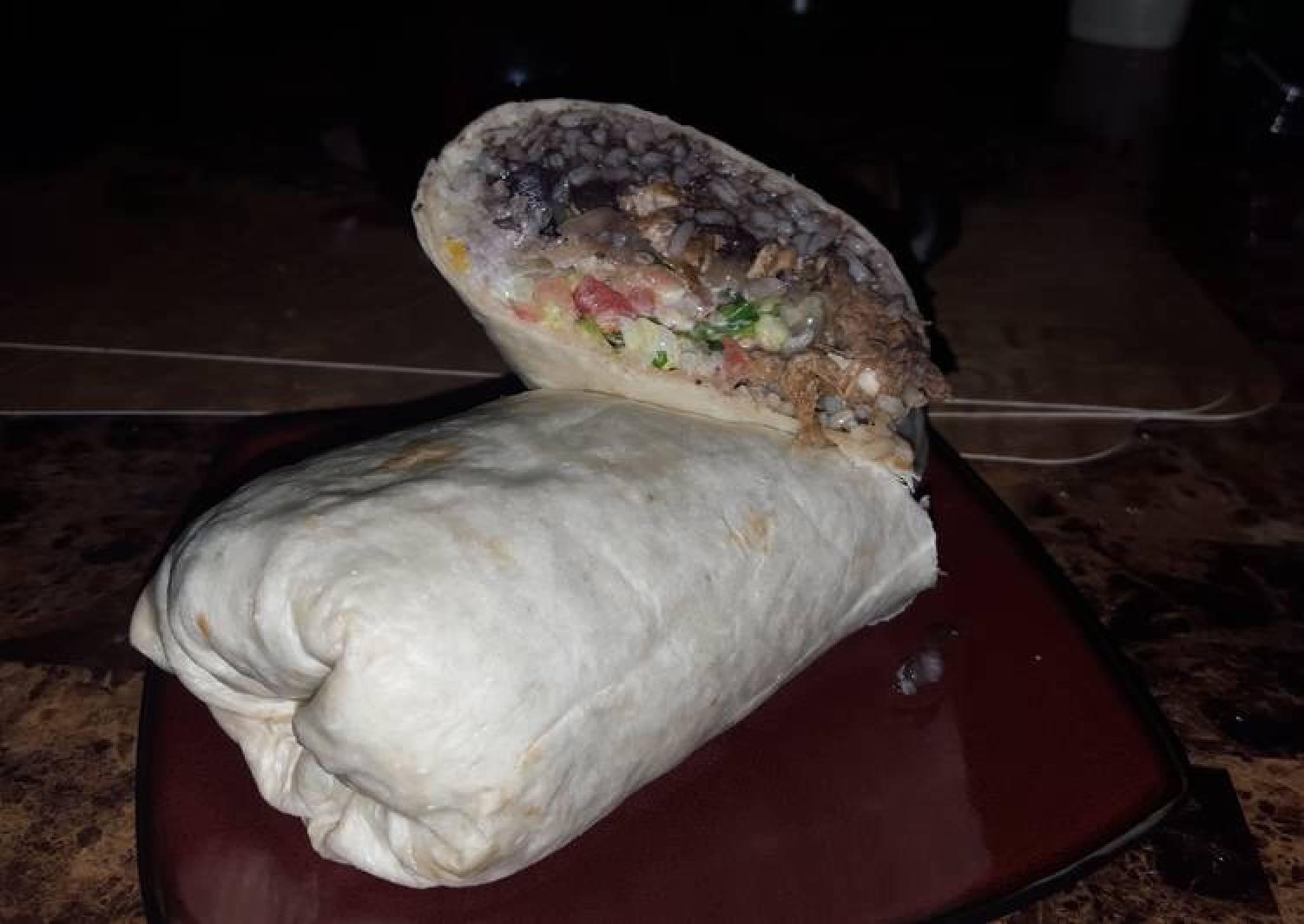 Grilled chicken and braised pork burrito