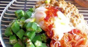 Okra Natto and Kimchi Rice Bowl