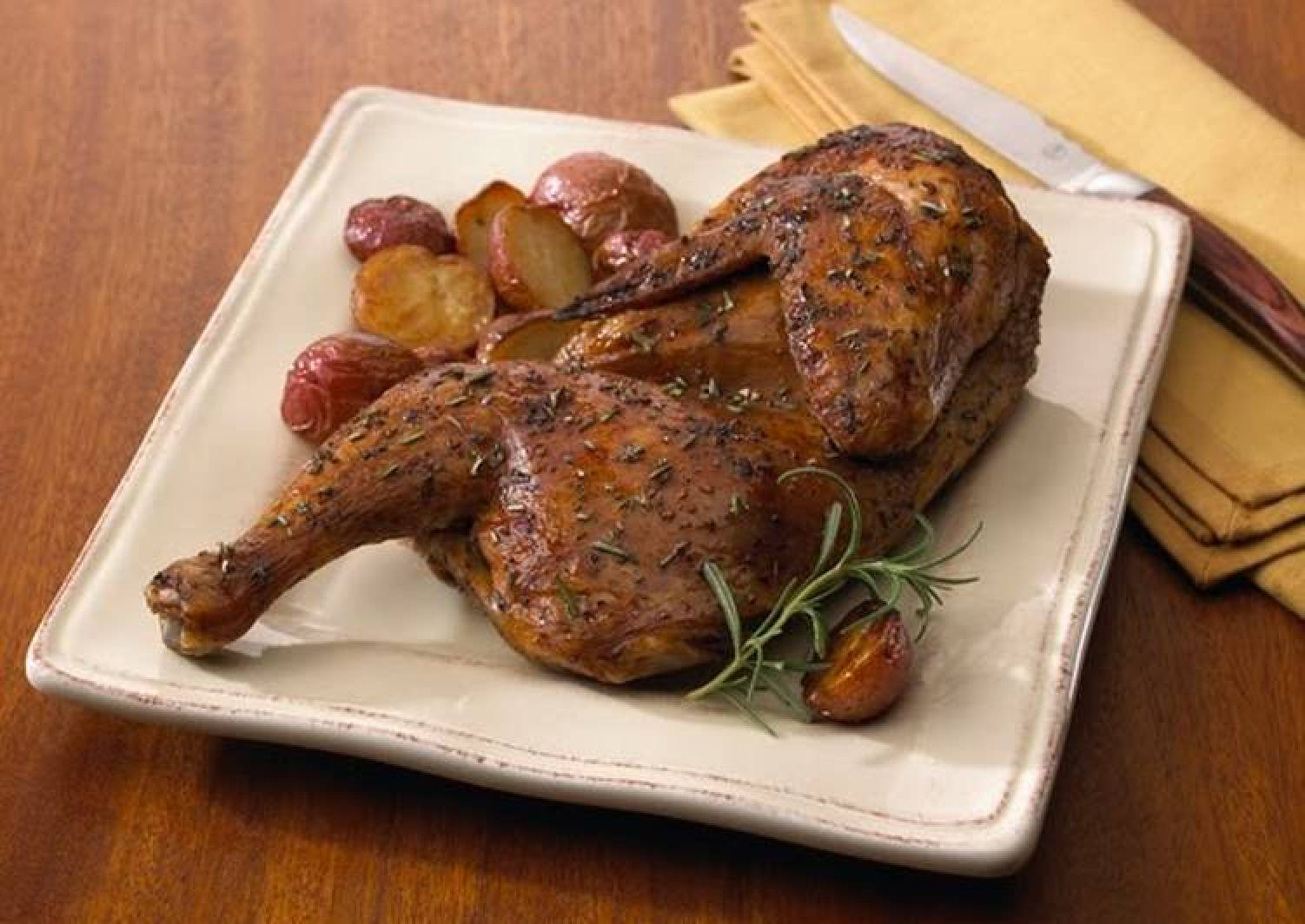 Roasted Half Chicken with Chickpea and Gigande Hoppin' John