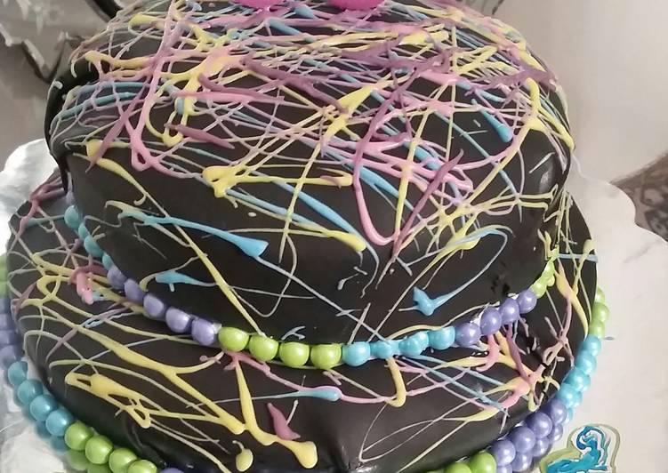 Paint drip neon tie dye birthday cake😆