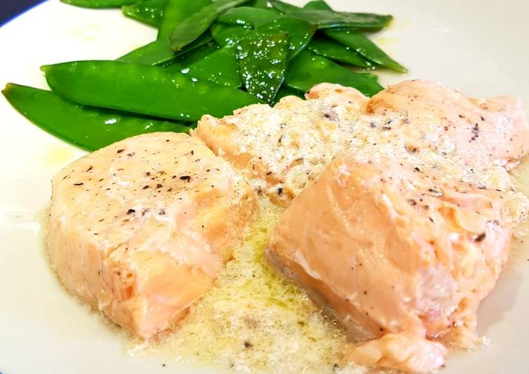 Sous vide salmon in a butter, ginger and lemon sauce