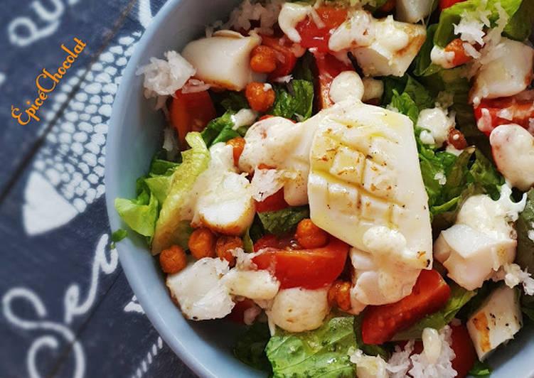 Salade verte a l'encornet