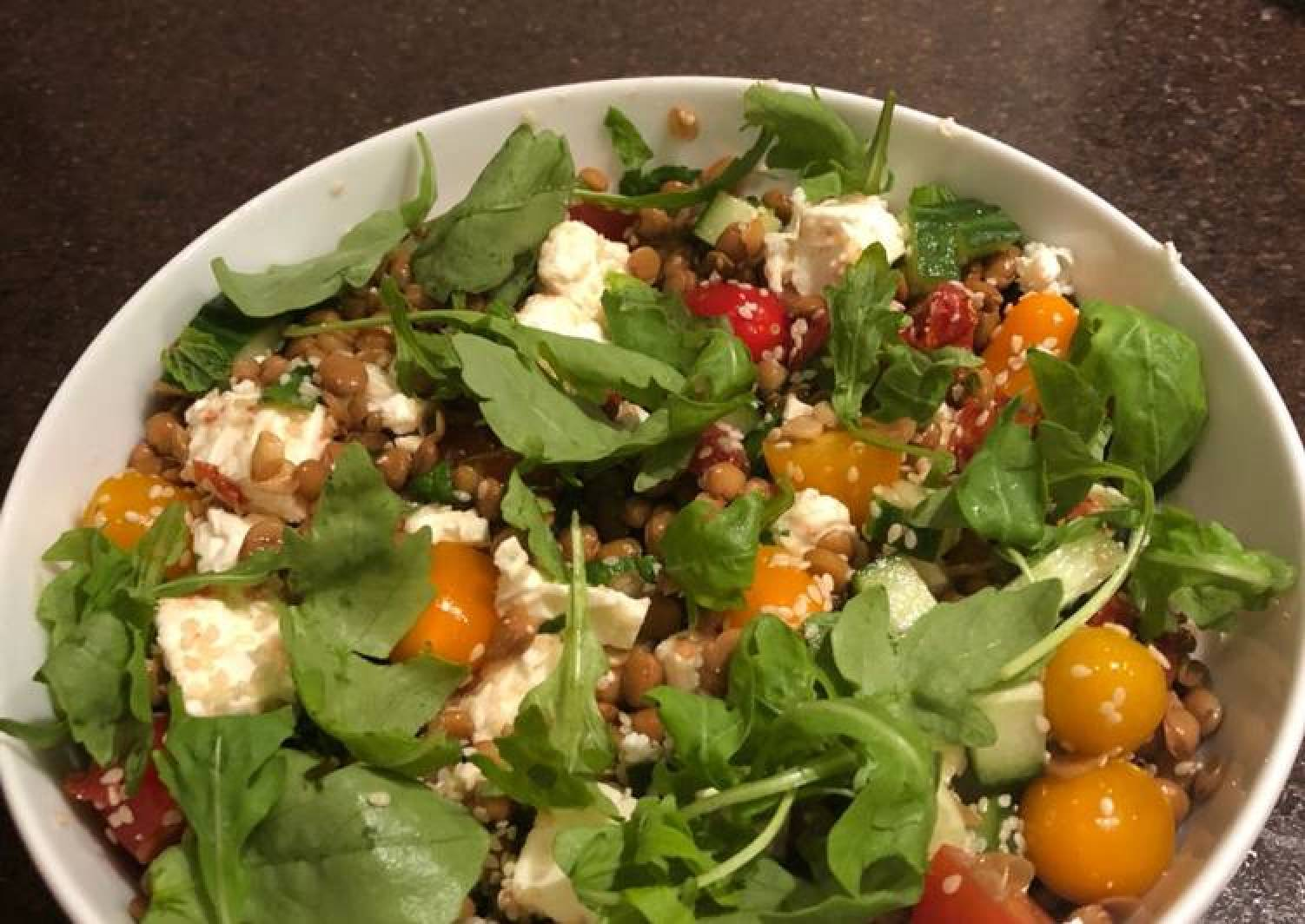 Lentil, tomato and feta salad