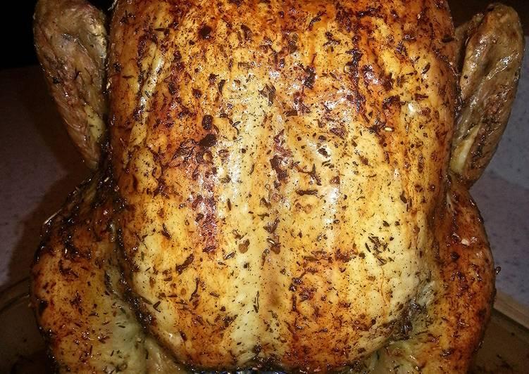 Beer butt oven roasted dill lemon/lime chicken