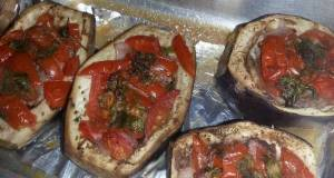 HCG diet meal 5  Eggplant boats and burgers recipe for 2
