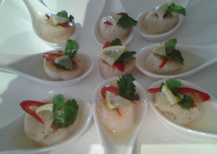 Simple Way to Prepare Favorite Scallops with vodka lime dressing