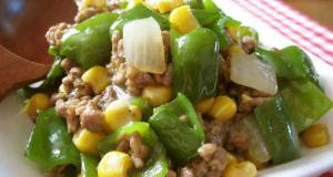 Green Pepper and Corn Curry Stir-Fry
