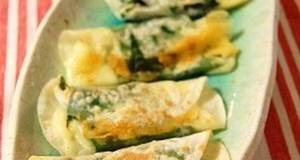 Shiso Leaves  Cheese Rolled in Gyoza Skins