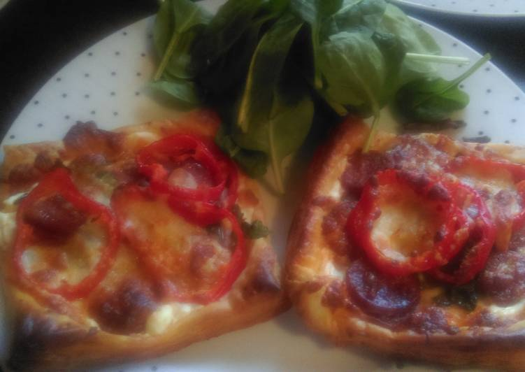 Steps to Prepare Super Quick Homemade Mandys chorizo and spinach puff squares