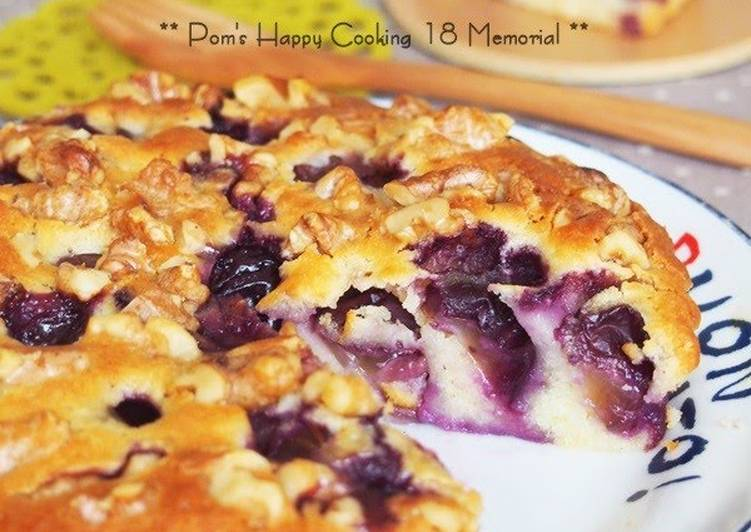 Autumn Grape and Walnut Tart Cake