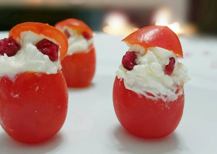 Tomato And Cheese Santa Appetizer