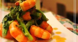 5 Minute Nanohana and Shrimp Saut with Aurora Sauce