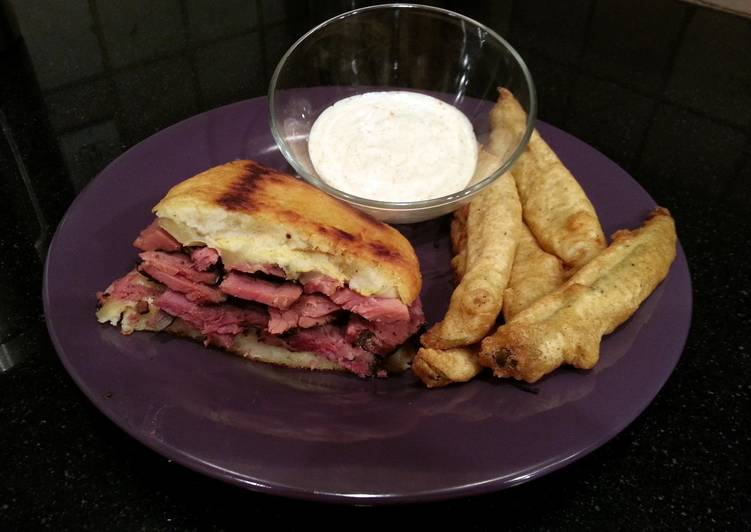 Step-by-Step Guide to Prepare Quick New York Deli Pastrami Kinishwich with Fried Pickles & Spicy Ranch Dip