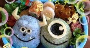 Easy Charaben Decorative Bentos For School Outings - Sully and Mike from Monsters Inc
