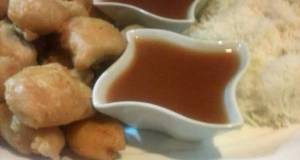 Sweet and sour sauce with chicken tempura