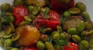 Vickys Broad Bean Salad  Tomato Dill Sauce GF DF EF SF NF