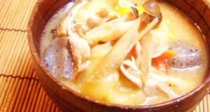 Rustic Pork Miso Soup with Dumplings