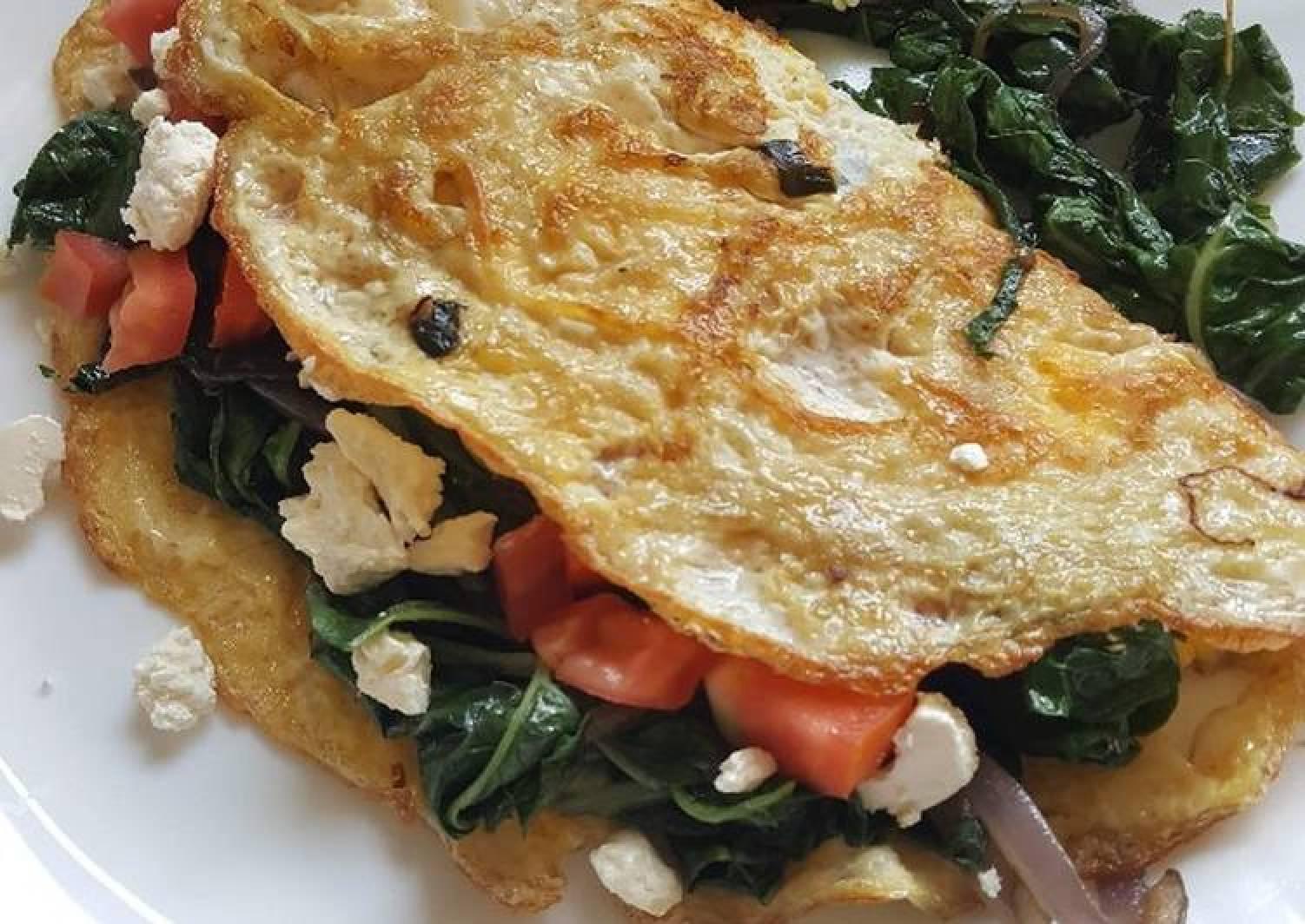 Spinach Tomato & Feta Omelette