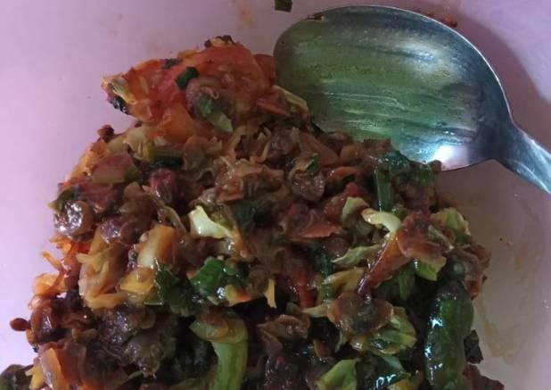 Kerang kupas oseng sayur