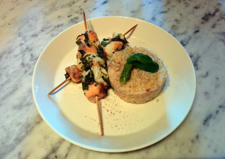 Riceotto with grilled lime fishsticks