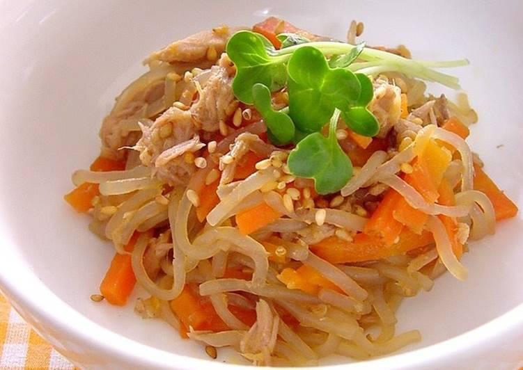 Kinpira with Konnyaku Noodles and Tuna