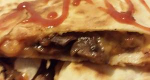 Cheesy steak and  mushroom Quesadilla