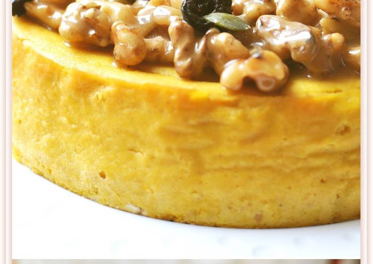 Kabocha Squash Cheesecake with Caramelized Walnuts