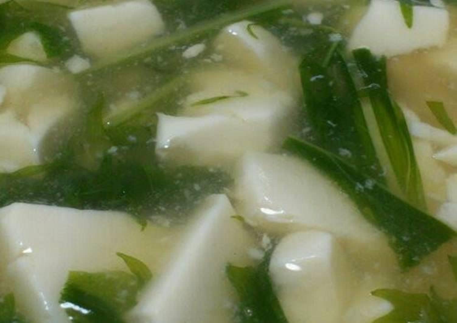 Thick Tofu and Mizuna Soup